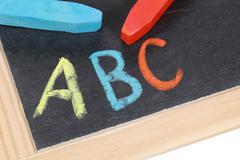Abc on a blackboard at an elementary school Stock Photos