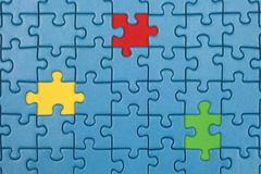 Missing pieces in a puzzle Stock Photos