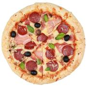 Pizza with ham, pepperoni and mushrooms Stock Photos