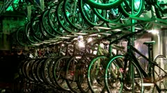 Racks Of New Bikes In Window Of Bicycle Shop- Night 1 Stock Footage