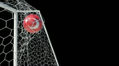 Turkish ball scores in slow motion with alphachannel Stock Footage