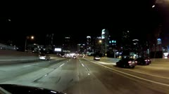 Driving 110 Freeway North Toward Downtown Los Angeles- Night Stock Footage