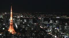 Tokyo Tower shot from Roppongi Hills rooftop Stock Footage