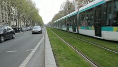 Tramway des Marechaux in Paris, France. Stock Footage