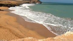 Beach of Sand, Ocean Coast, Sea Shore Stock Footage