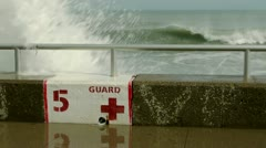 Lifeguard Post Seawall Stock Footage