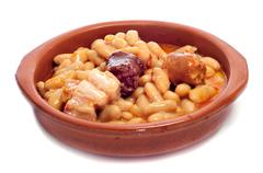 Fabada asturiana, typical spanish bean stew Stock Photos