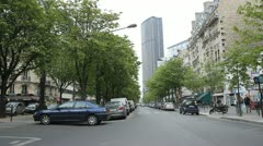 Boulevard de Vaugirard and Tour Montparnasse. - stock footage