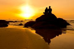 couple in silhouette - stock photo