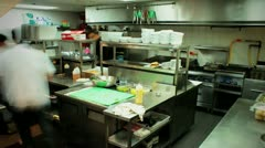 Kitchen prep in a restaurant time lapse Stock Footage