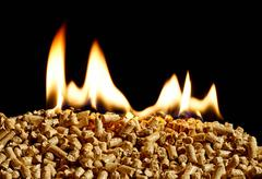 Burning wood chip biomass fuel a renewable alternative source of energy Stock Photos
