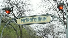 Metropolitain sign. - stock footage