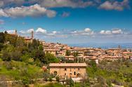Tuscan wine town of montalcino view, italy Stock Photos