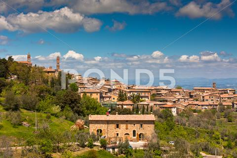 Stock photo of tuscan wine town of montalcino view, italy