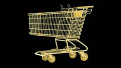 empty golden shopping cart loop rotate on black background - stock footage