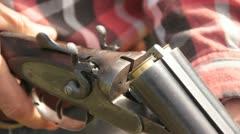 Cocking a shotgun. Stock Footage