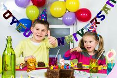 big funny birthday party - stock photo