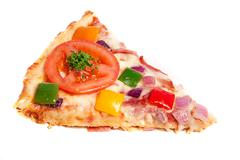 Slice of pizza with tomato and onion Stock Photos