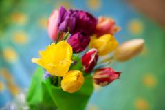Stock Photo of bouquet of colorful tulip