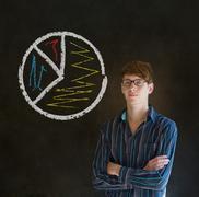 ympyräkaaviona kuvaajan liikemies - stock photo