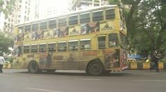 Bus parked in Mumbai street Stock Footage