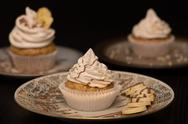 Vegan cupcakes with different toppings. Stock Photos