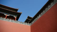 red beijing forbidden city wall,China's royal Meridian Gate. - stock footage