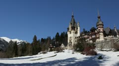 HD Peles Castle in Sinaia, Romania, Beautiful Winter Landscape, Cold Mountains Stock Footage