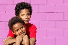 cute black american or african descent kids - stock photo