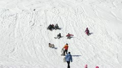 People Families Kids Sledding Children Play Sledging Mountain Cold Snow Winter Stock Footage