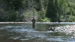 Fly Fishing the Colorado River for Rainbow Trout - stock footage