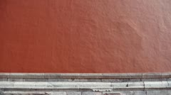 Stock Video Footage of red beijing forbidden city wall with sun,China's royal Meridian Gate.