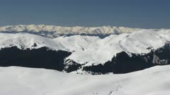 Aerial View Snow Covered Mountains Panorama Beautiful Winter Alpine Landscape Stock Footage