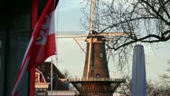 Stock Video Footage of Dutch Windmill and city flag in Leiden, the Netherlands