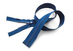 Blue zipper closeup isolated on white Stock Photos