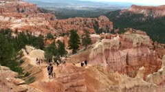 Tourists on the observation deck Bryce Canyon NP. Utah, USA. Stock Footage
