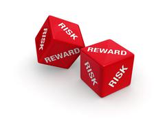 Stock Illustration of risk versus reward gamble