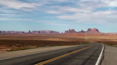 U.S. Route 163 in Monument Valley, Arizona-Utah, USA Stock Footage