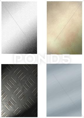 Stock Illustration of set of 4 metal backgrounds