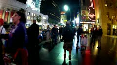 POV Walking Hollywood Boulevard Walk Of Fame Saturday Night Stock Footage