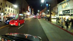 Saturday Night Traffic And Tourists On Hollywood Boulevard Stock Footage