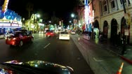 Stock Video Footage of Slow Driving Hollywood Blvd From McCadden To Highland- Night