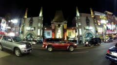 Wide Angle Grauman's Chinese Theater And Hollywood Blvd Traffic Stock Footage