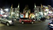 Stock Video Footage of Wide Angle Grauman's Chinese Theater And Hollywood Blvd Traffic