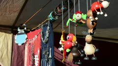 Handmade toys jewelry necklaces sold outdoor spring fair market Stock Footage