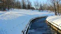 PAN: Slavianka river in  Pavlovsk, St. Petersburg, Russia Stock Footage