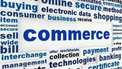 Commerce creative words business concept Stock Footage