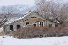 Historic pioneer farm homestead winter cat in window Stock Photos