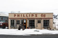 Phillips 66 old rural antique gas station winter Stock Photos