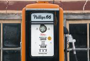 Phillips 66 old antique gas pump rural auto station Stock Photos